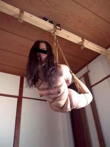 縄で吊られて肉体を圧迫されると、全身に抑止不能な快感が襲ってきます。乳輪と乳頭がみるみる腫れ上がり、股の間からは、自覚できるほどの大量のマゾ汁が溢れ出して、最後はそのまま失神アクメに達してしまうのです……。